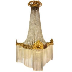 Large French 19th-20th Century Empire Gilt Bronze and Cut-Glass Chandelier