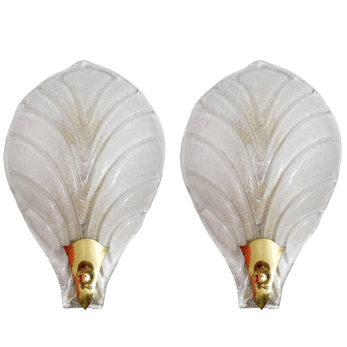 Pair of Large Murano Glass Wall Lights Sconces, 1960s