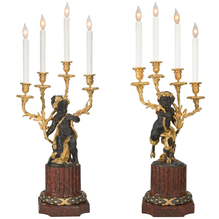 French 19th Century Louis XVI Style Bronze, Marble and Ormolu Candelabra Lamps