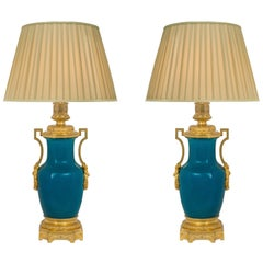 19th Century Asian Porcelain with French 19th Century Louis XVI St. Ormolu Lamps