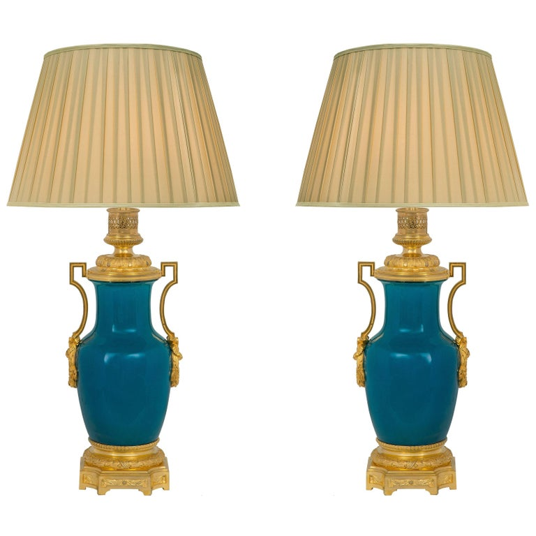 19th Century Asian Porcelain with French 19th Century Louis XVI St. Ormolu Lamps For Sale