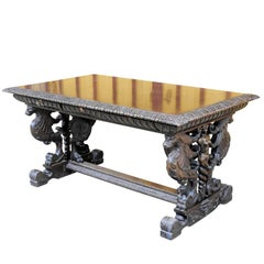 Great Renaissance Style Desk with Elaborate Carvings