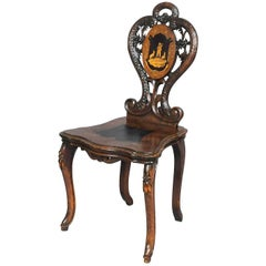 Black Forest Carved and Inlaid Walnut Chair, Swiss, 1900