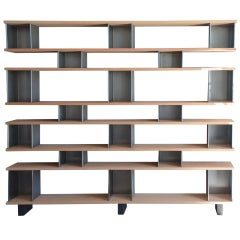 Large 'Horizontale' Oak and Brushed Steel Shelving Unit by Design Frères