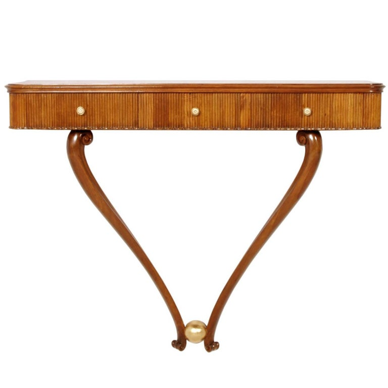 1940s Console Table Three Drawers by Osvaldo Borsani, Blond Walnut Wax-Polished 1