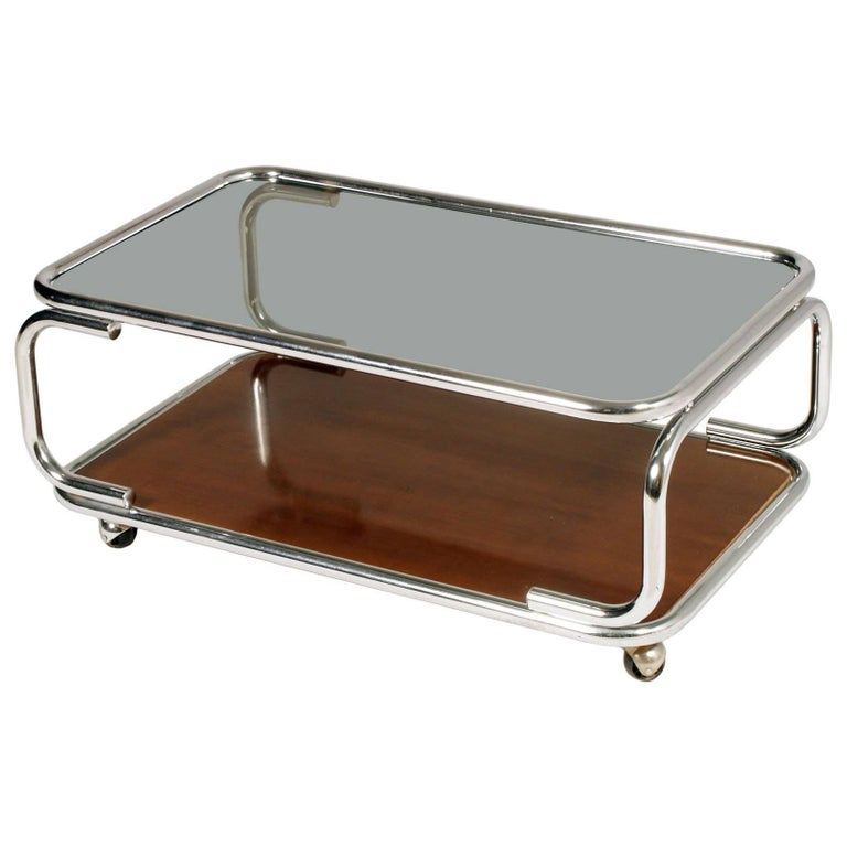1960s Chrome Serving Trolley Coffee Table Smoked Glass Top & Faux Laminated Wood For Sale