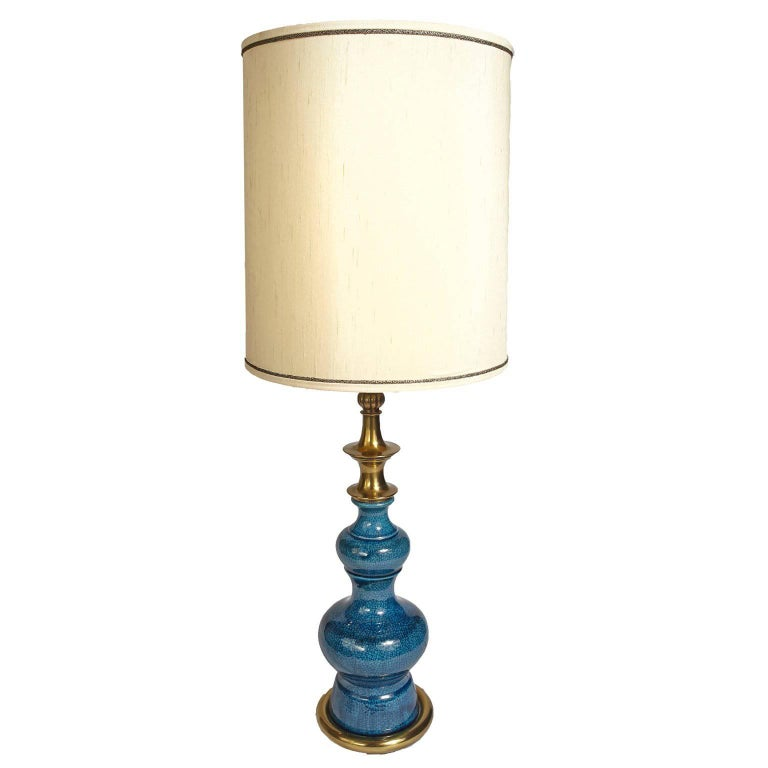 Stiffel Blue Ceramic Mid Century Modern Table Lamp With Original