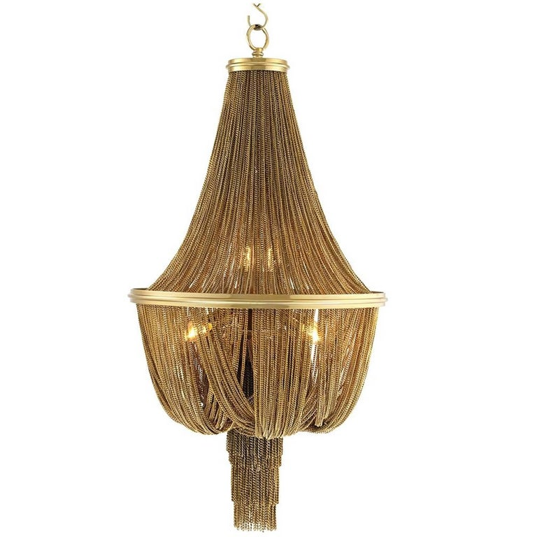 Grand Hotel Round Chandelier with Hanging Chains in Gold Tones or Nickel Finish For Sale