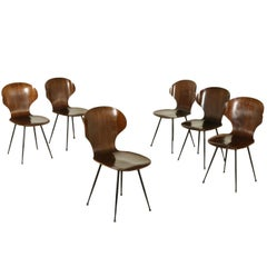 Group of Six Chairs Bentwood Metal Vintage Manufactured in Italy, 1950s