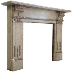 Irish 20th Century Edwardian Emperadore and Breccia Marble Fireplace Surround