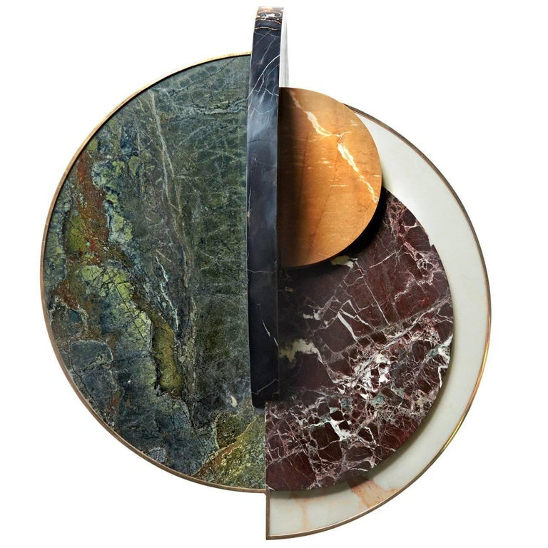 """""""Full Moon"""" Marble and Brass or Gold-Plated Side Table Designed by Lara Bohinc"""