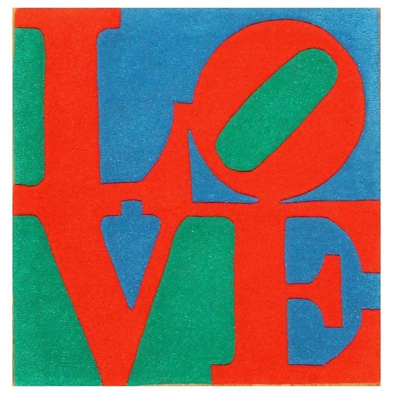 Modern Pop Art Love Rug Designed By Robert Indiana For