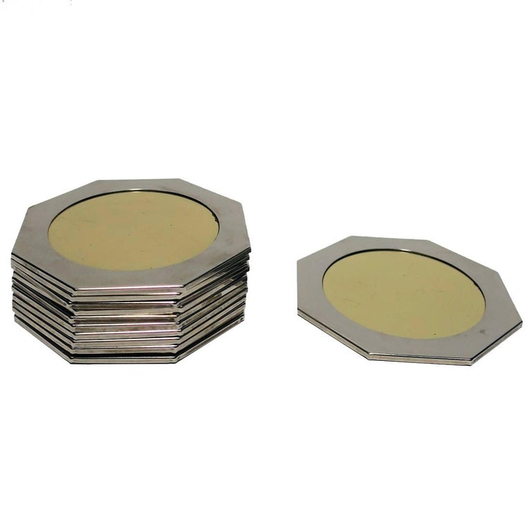 Modern Brass and Chrome Octagonal Coaster Set, ca. 1970s