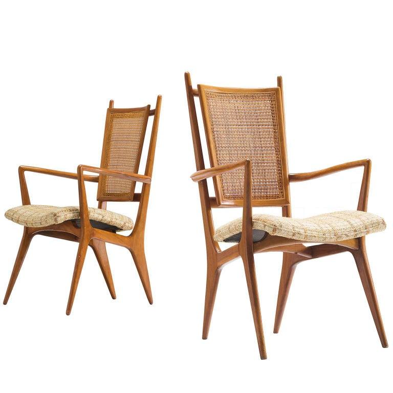 Vladimir Kagan for Dreyfuss Pair of Side Chairs in Walnut