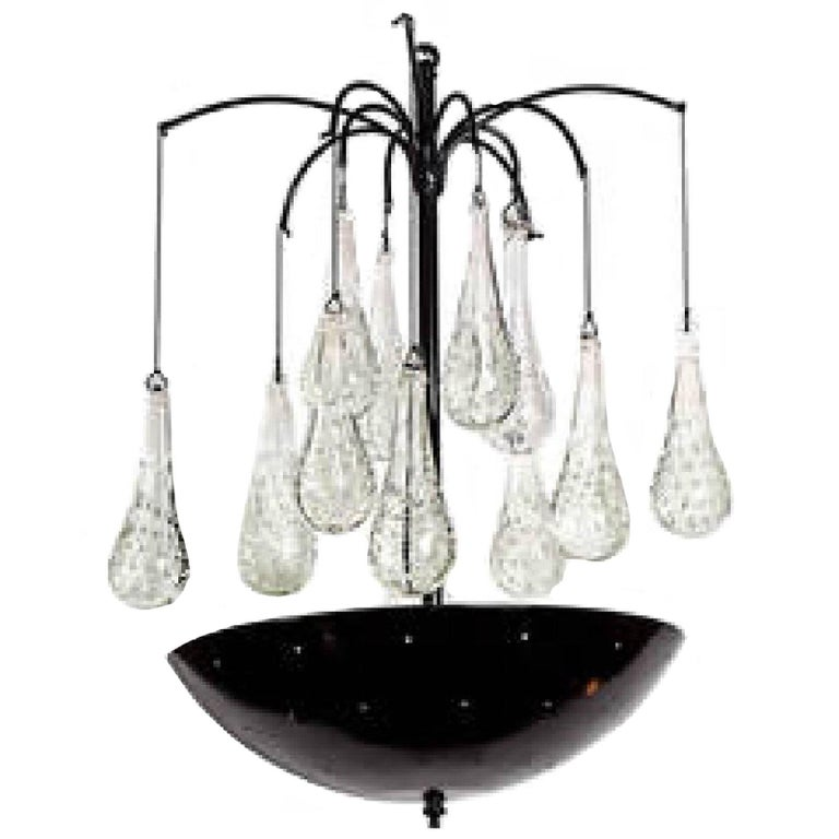 Finnish Style Chandelier with Teardrop Prisms For Sale