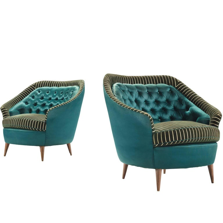 Italian Reupholstered Quilted Armchairs, 1950s