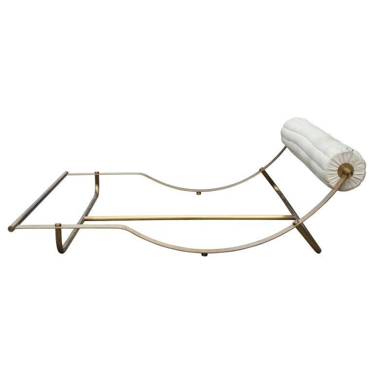 Modern Italian Brass Bed with White Leather Headboard For Sale