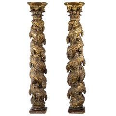 Pair of Baroque 18th Century Solomonic Gilt Columns with Corinthian Capitals