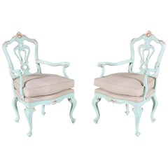 1920s, Painted and Parcel-Gilt Fauteuils in the Rococo Style