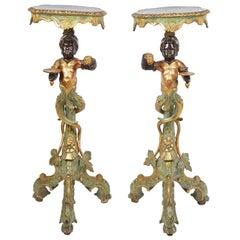 Pair of 19th Century Venetian Blackamoor Torchas