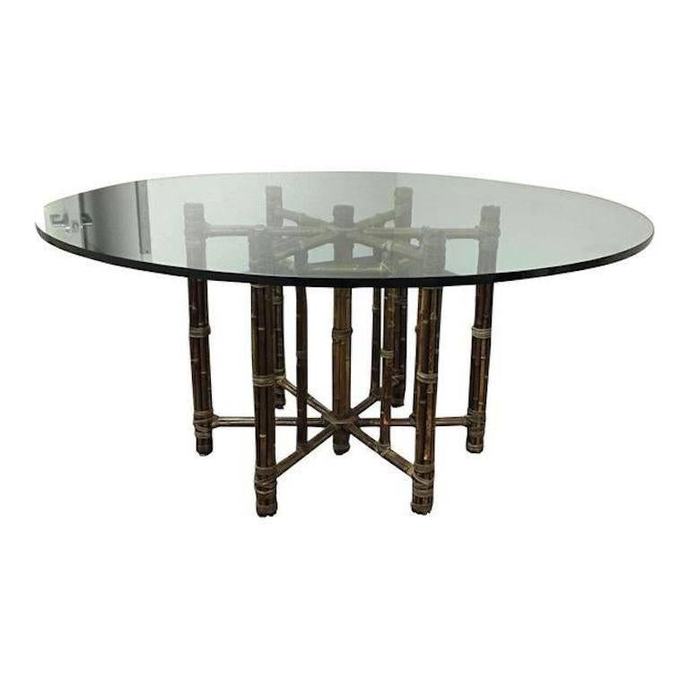 McGuire Bamboo And Glass Dining Table