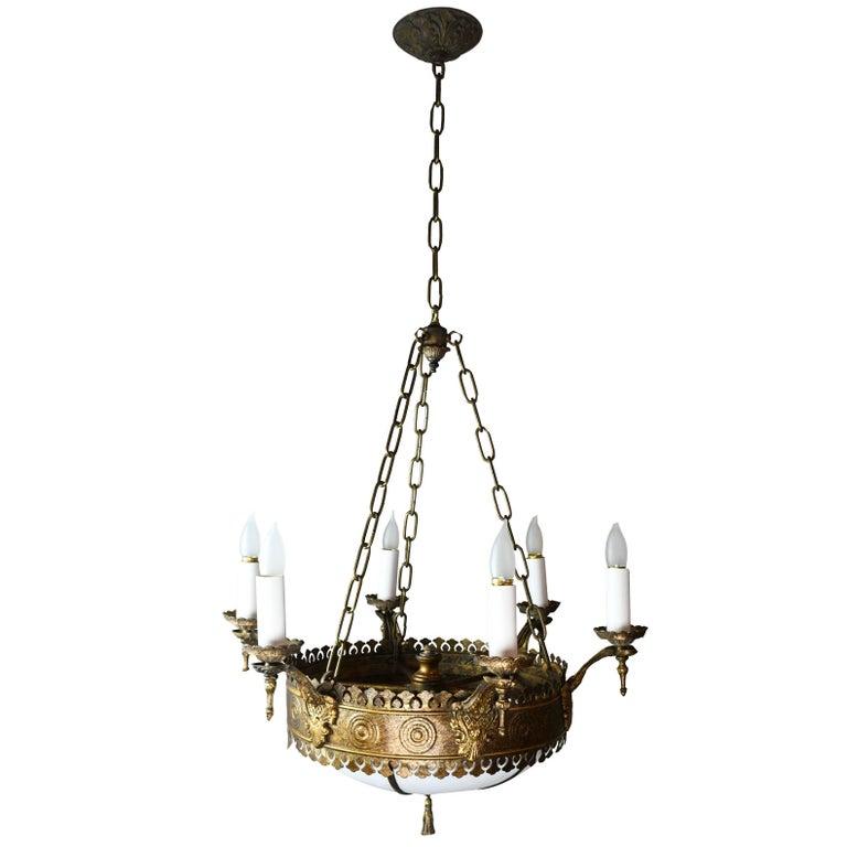 Six candle tudor chandelier with bent glass globe for sale at 1stdibs six candle tudor chandelier with bent glass globe for sale aloadofball Choice Image
