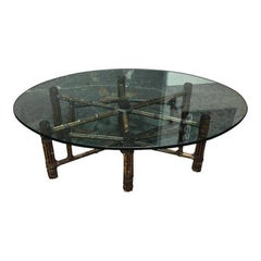 McGuire Bamboo and Glass Coffee Table