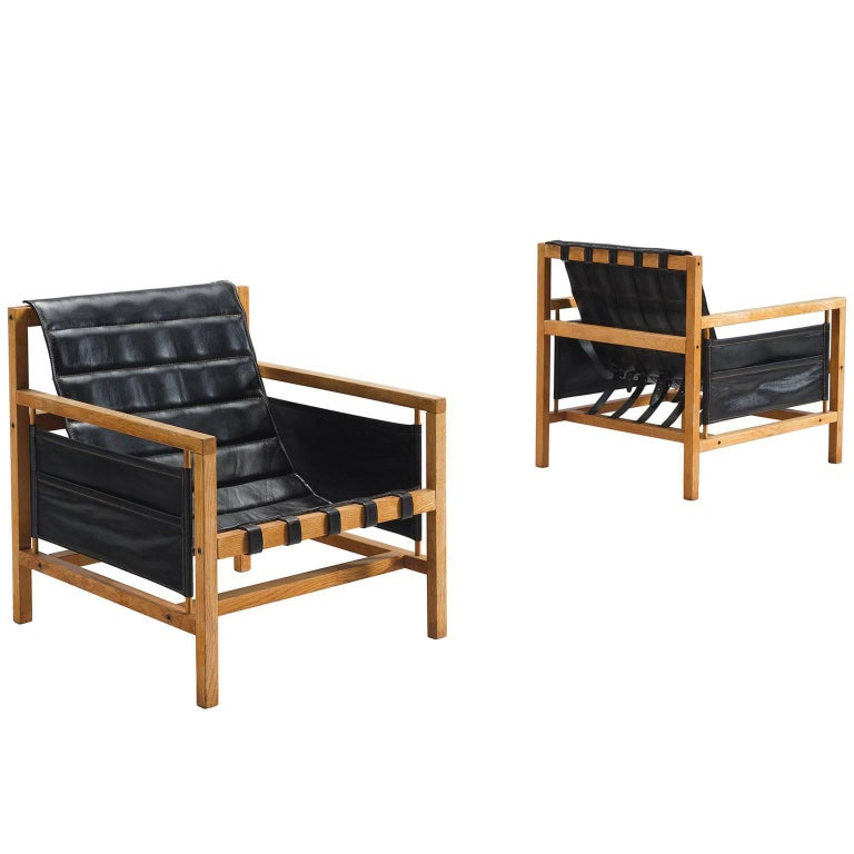 Poul Hundevad Leather Lounge Chairs by Mogens Plum