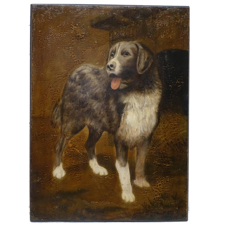 Dog Portrait Painting, 19th Century, England For Sale