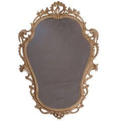 Vintage Hand-Carved and Bone Painted Baroque Style Mirror, England, 1920