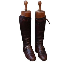 1950s Pair of English Polo Boots with Peal & Co. Ltd. Wooden Stretchers