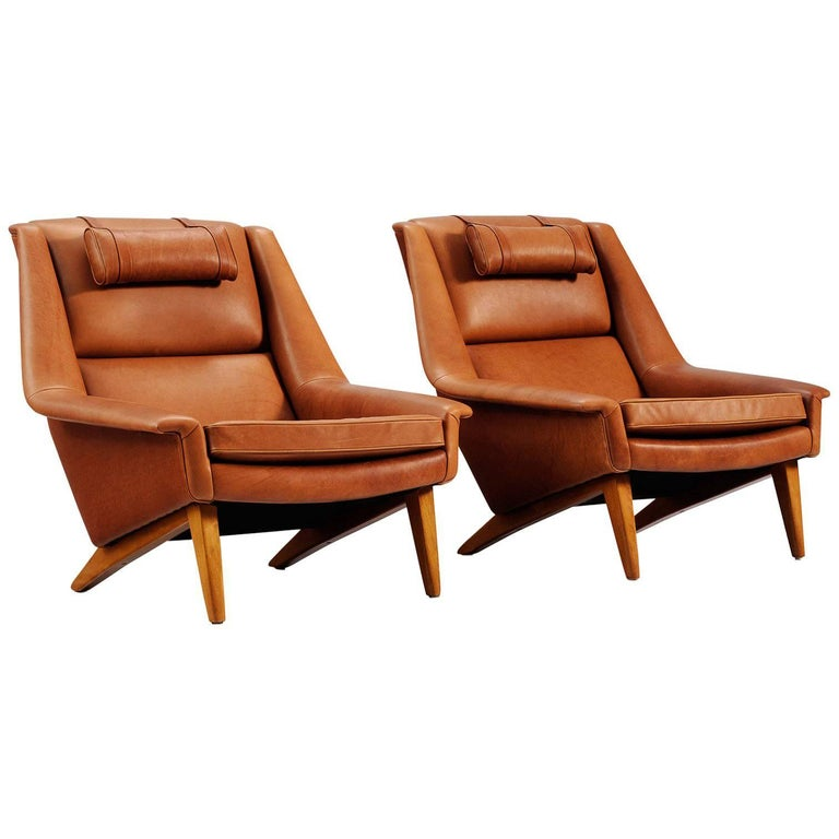 Set of Two Danish Reupholstered Lounge Chairs in Cognac Leather