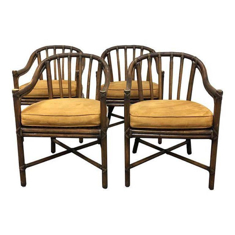 McGuire Bamboo Barrel Chairs, Set Of Four For Sale