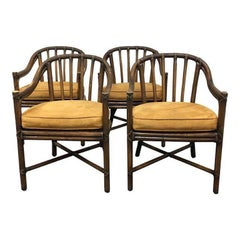 McGuire Bamboo Barrel Chairs, Set of Four