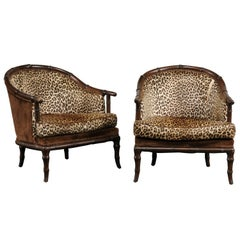 Pair of Midcentury Bamboo Barrel Chairs