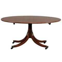 English Regency Round Mahogany Dining Table, circa 1800