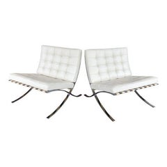 Knoll Barcelona Leather Chairs, Pair