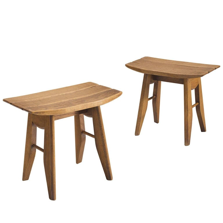 Guillerme et Chambron Set of Two Stools in Solid Oak