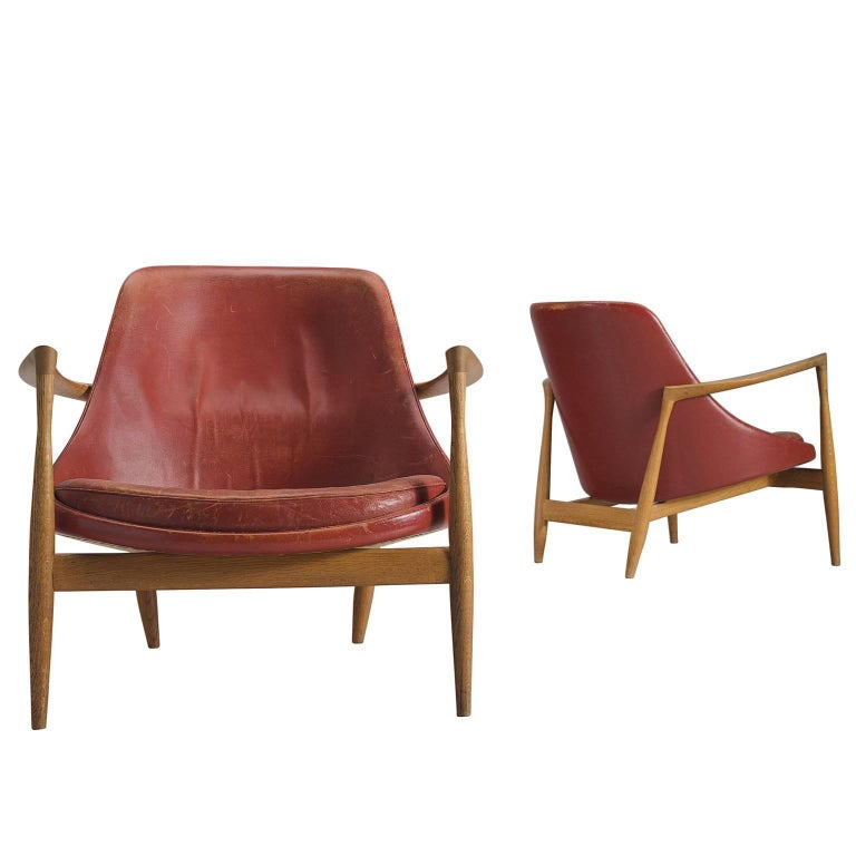 Ib Kofod-Larsen 'Elizabeth' Chairs in Original Aged Leather