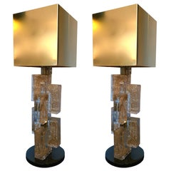 Pair of Contemporary Lamps Cubic Gold Powder Murano Glass, Italy