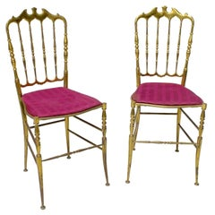 Pair of Solid Brass Chiavari Chairs