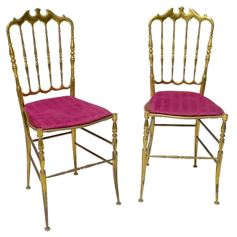 Pair of Solid Brass Chiavari Chairs For Sale