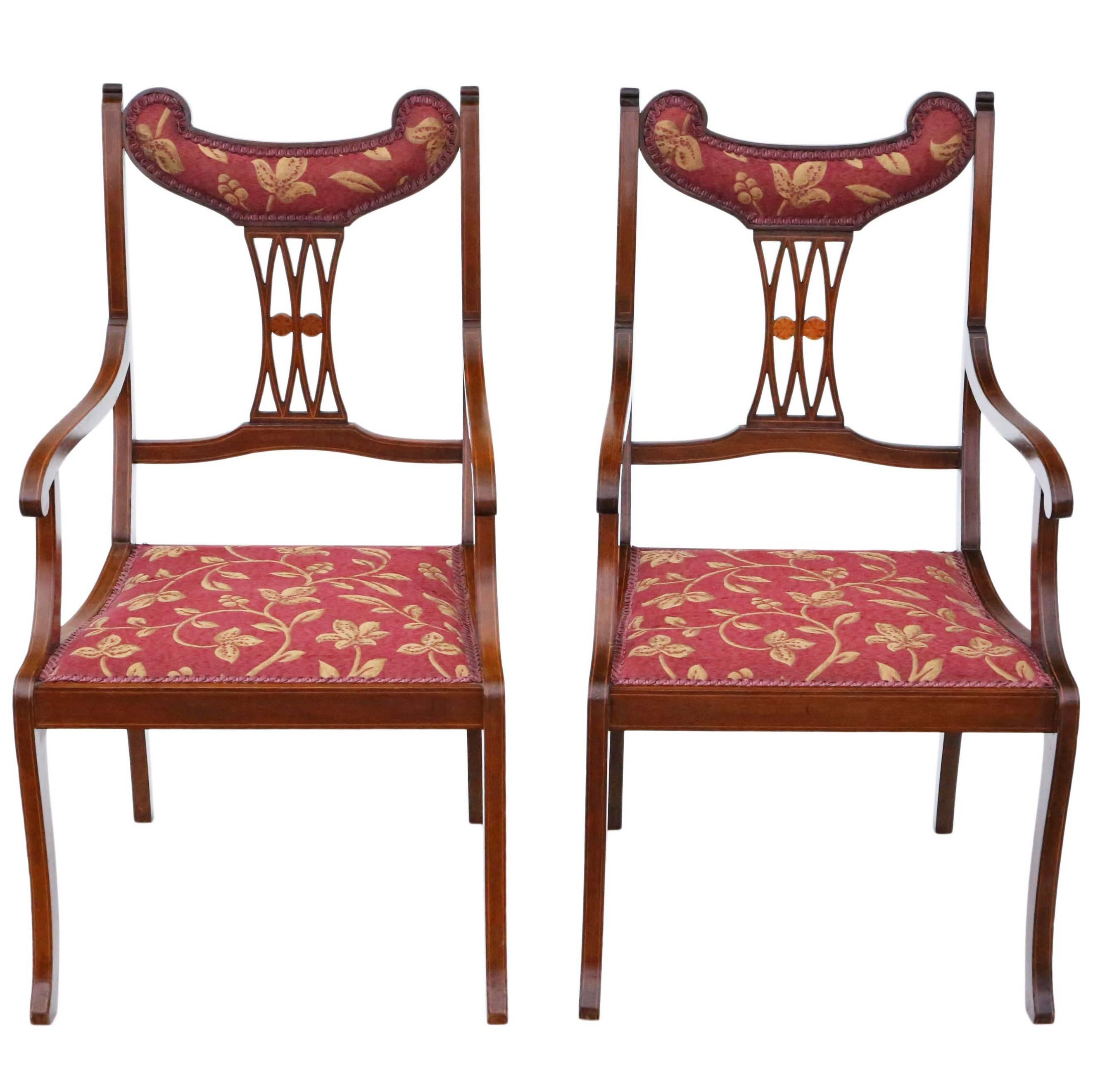 antique quality pair of inlaid mahogany elbow chairs circa