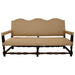 Louis XIII Style Walnut Upholstered Sofa