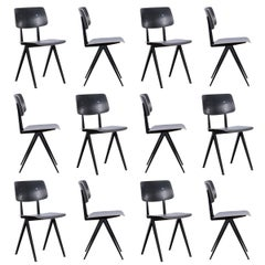 Multiple Industrial Galvanitas S16 Dining Chairs in Black, Netherlands