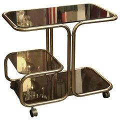 1970s Mid-Century Modern Brass Bar Cart with Dark Glass Shelves from France