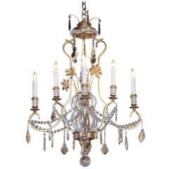 Decorative Italian Gold Patinated Iron and Crystal Chandelier