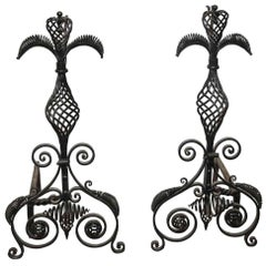 1880s Pair of Unique Large Blacksmith Hand-Wrought Iron Fireplace Andirons