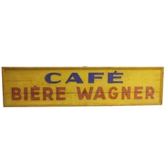 1970s Hand-Painted Long Wooden Cafe Biere Wagner Sign from France