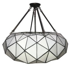 Large Leaded Glass Light Fixture